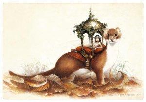 Belette au Palanquin, carte postale de Pascal Moguérou