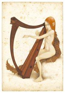Carte Postale De Erlé Ferronnière, Fée Harpiste