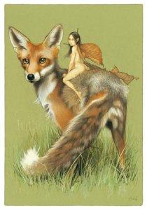 Fée sur le Renard, carte postale de Erlé Ferronnière