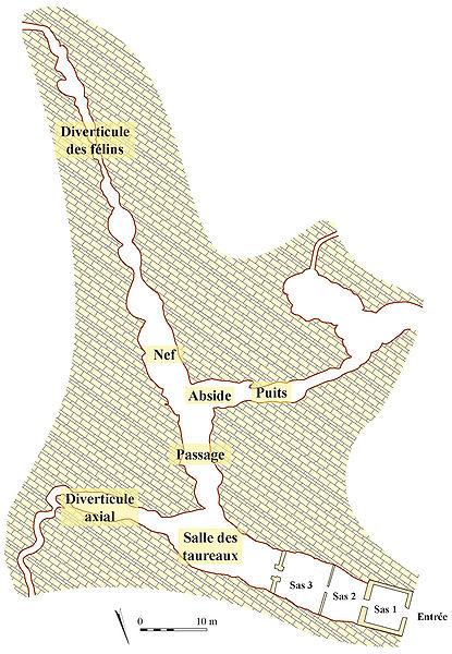 """Plan de la Grotte de Lascaux (extrait de """"L'art des cavernes - Atlas des grottes ornées paléolithiques françaises"""", Ministère de la culture, ISBN 2-11-080817-9)"""