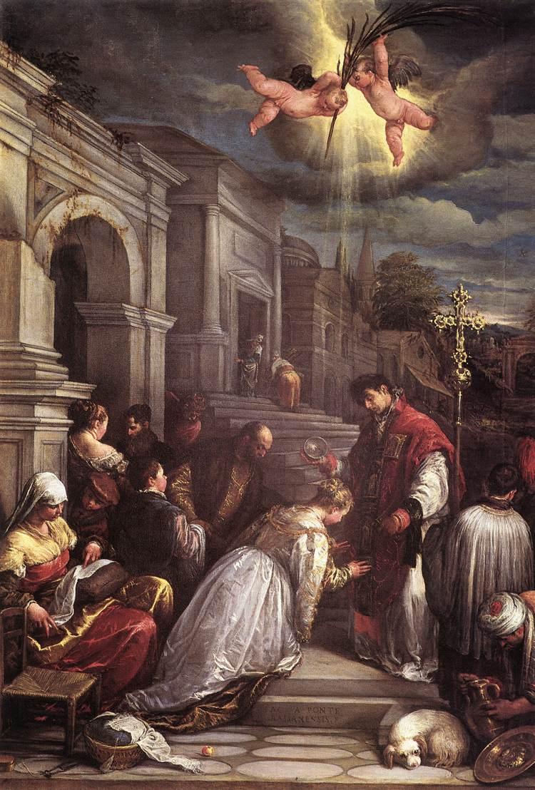 Jacopo Bassano – Saint Valentin baptise Sainte Lucie (vers 1575)