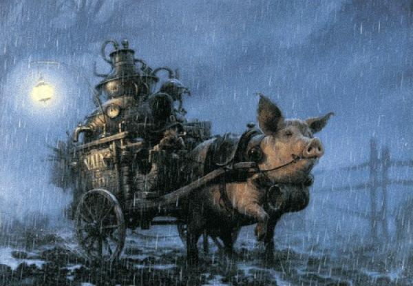 Le lutin et le cochon attelé de Jean-Baptiste Monge