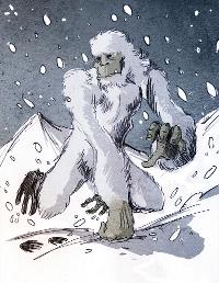 Un animal fabuleux, le yéti courant dans une tempête de neige