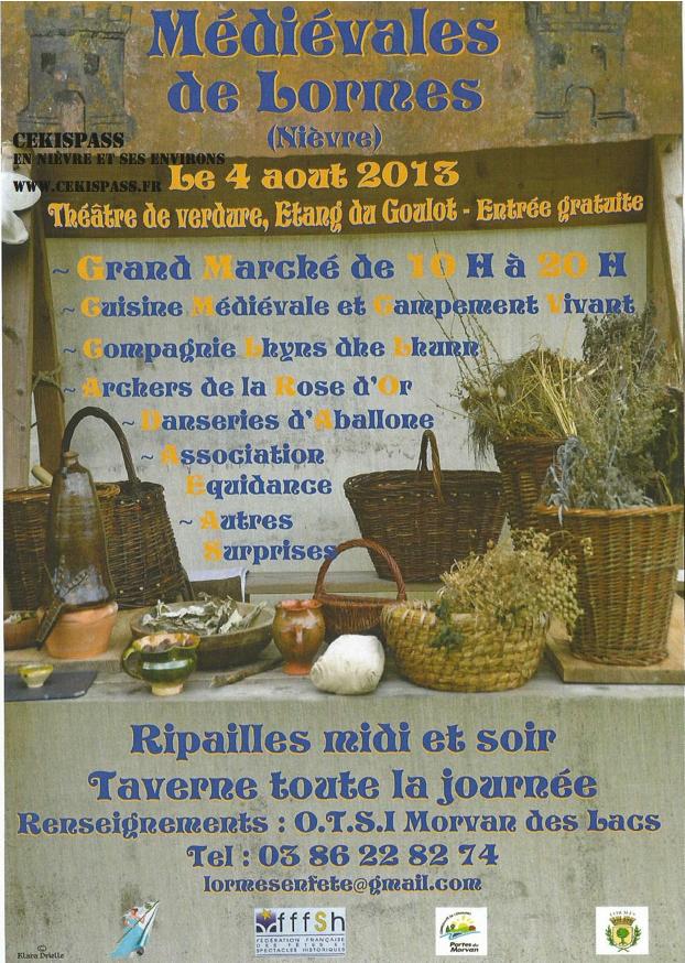 Demandez le programme des Médiévales de Lormes 2013