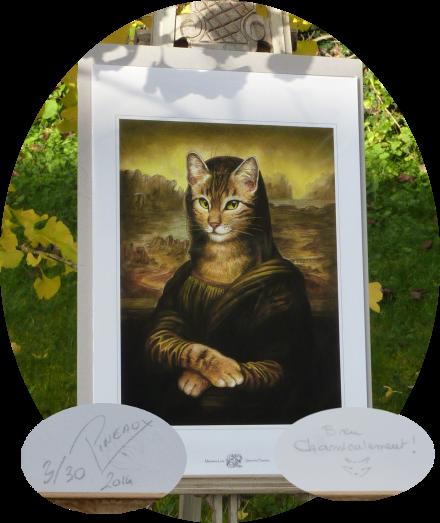 L'épreuve d'artiste numérotée et dédicacée de Meowna Lisa de Séverine Pineaux, 1er prix du concours