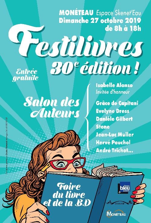 Festilivre Monéteau, affiche dessinée par Christian Flamand